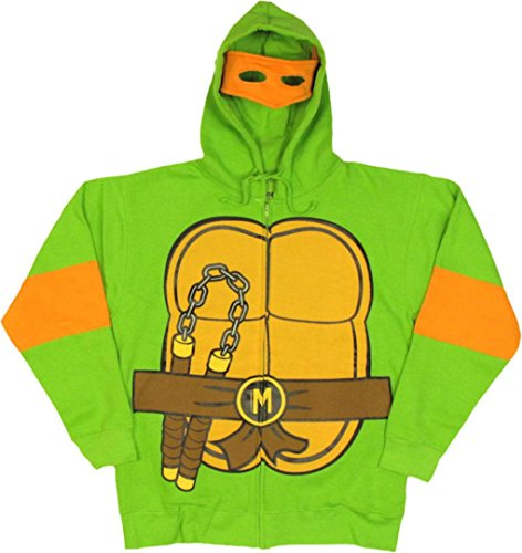 Teenage Mutant Ninja Turtles Michelangelo Costume Adult Hooded Sweatshirt (Adult Small) - Raphael Hoodie Adult Costumes