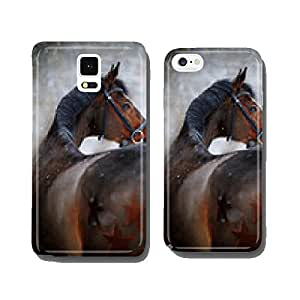 Portrait of a sports horse in the winter. cell phone cover case Samsung S5