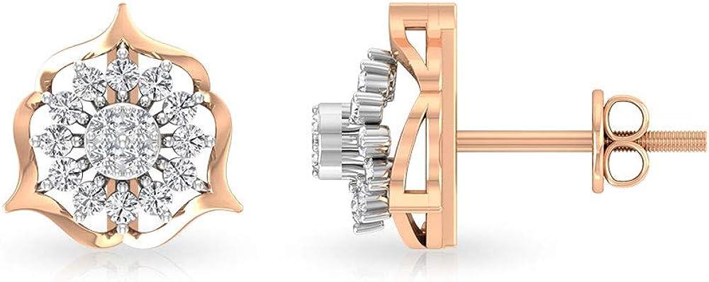 Art Deco Pendientes de diamantes con certificado IGI de 0,36 quilates, diseño de flores, para novias, aniversarios, bodas, vintage, declaración del día de la madre, regalos, tornillo hacia atrás