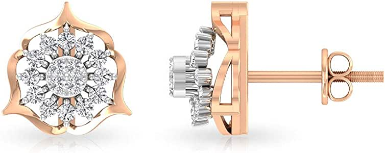 Art Deco 0.36 Carat Certified Diamond Halo Flower Studs Earring, Unique Bridal Wedding Anniversary Vintage Earring, Statement Gold Beaded Earring Gift, Screw Back