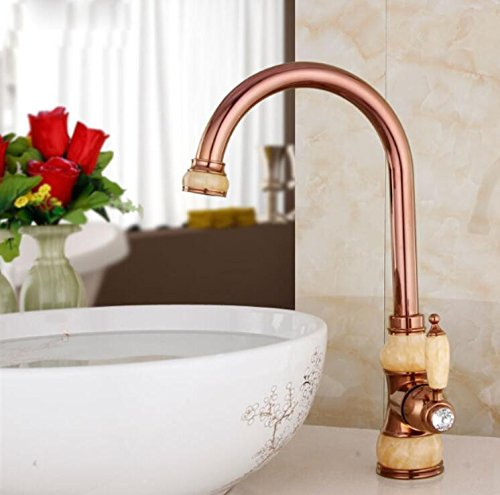 C Decorry Brass Torneira Cozinha with Marble Kitchen Faucet Single Handle gold Finish Basin Sink Mixers Taps Sink Faucet,A