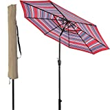 LCH 9Ft Outdoor Patio Umbrella Backyard Garden Aluminum Umbrella Sturdy Pole 8 Ribs Tilt Easy Crank Open (Stripe Red-Blue)