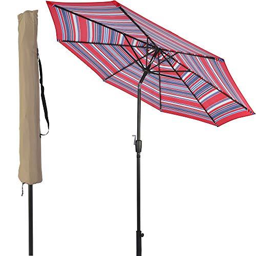 LCH 9Ft Outdoor Patio Umbrella Backyard Garden Aluminum Umbrella Sturdy Pole 8 Ribs Tilt Easy Crank Open (Stripe Red-Blue) by LCH