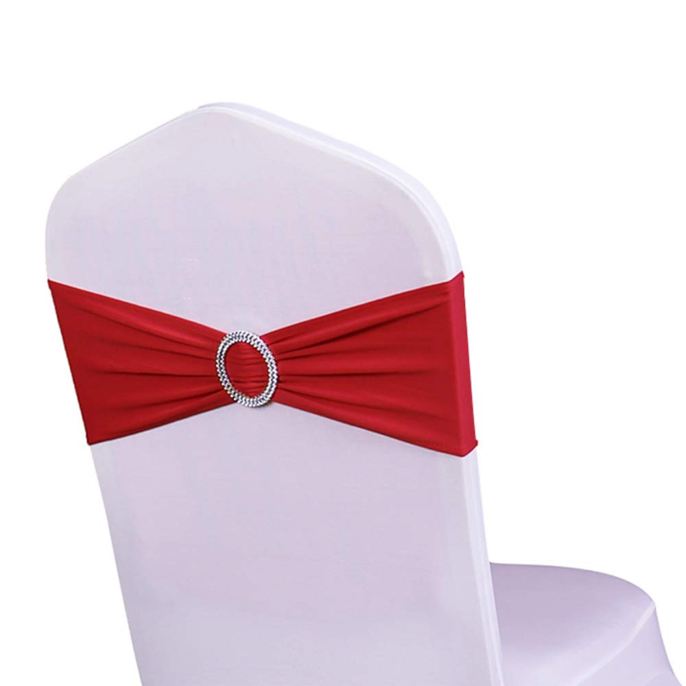 WENSINL Pack of 50 Spandex Chair Sashes Bows Elastic Chair Bands with Buckle Slider Sashes Bows for Wedding Decorations Without White Covers (Apple Green) HAOYU