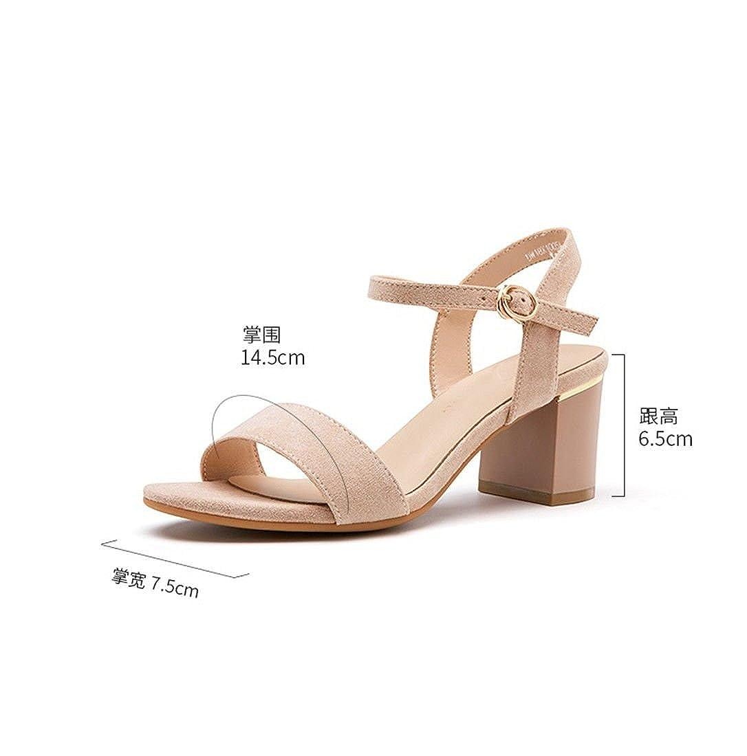 WXMDDN Sommer Koreanische High-Heels Dick mit Dem Einfache Wort Schnalle Studenten Einfache Dem Offene Sandalen Nackte Farbe d0c7a8