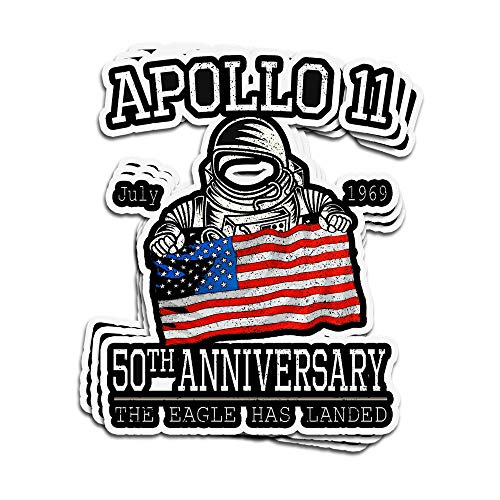 VFreeM 3 PCs Stickers Astronaut Apollo 11 50Th Anniversary The Eagle Has Landed Grunge Style 4 × 3 Inch Die-Cut Wall Decals for Laptop Window (The Three Astronauts That Landed On The Moon)