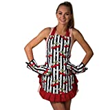 Cute Pretty Flirty Cooking Apron & Silicone Grid Oven Mitts Set (Red)