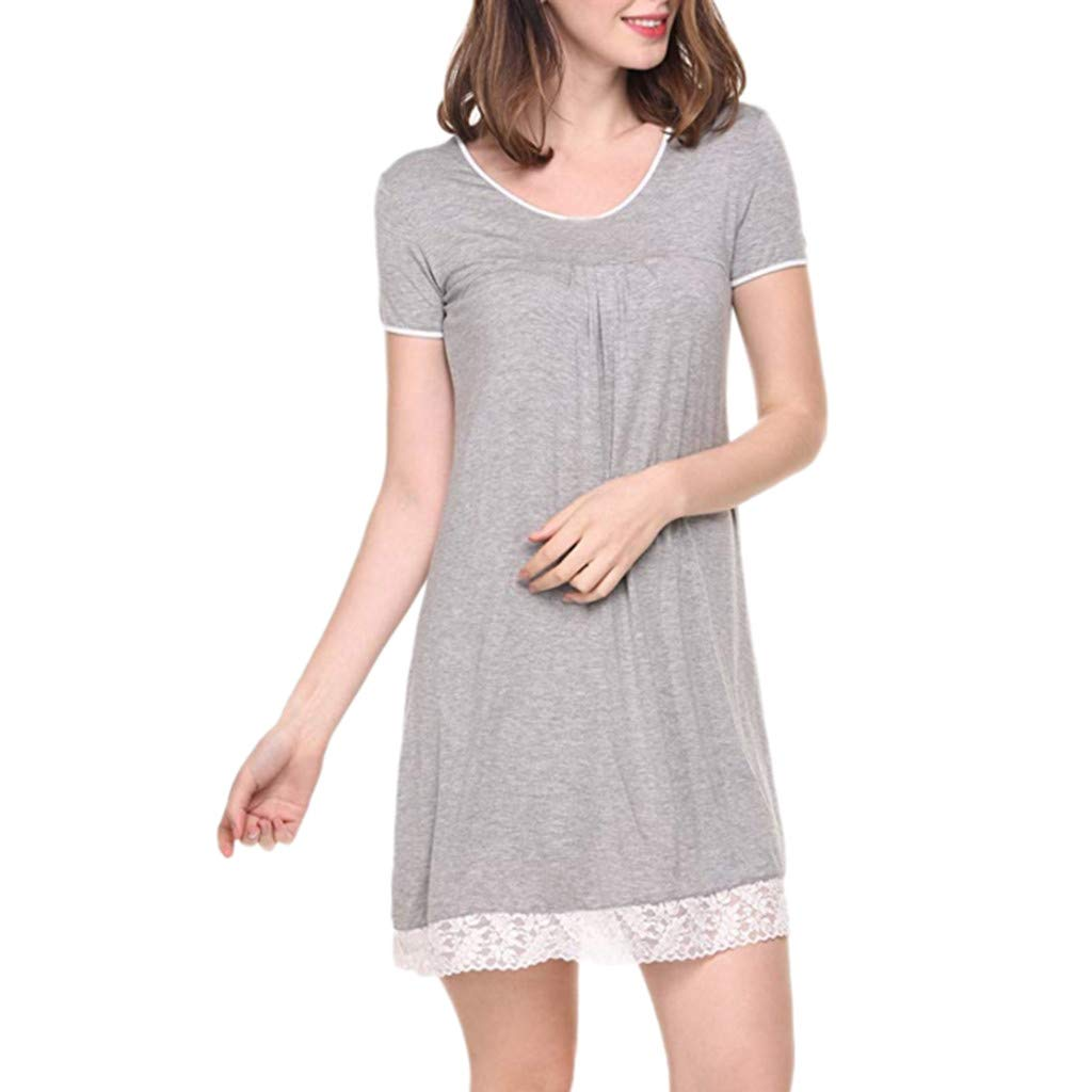Veodhekai Women Dress Nightgown Short Sleeve Lace Sleep Shirt Dress Soft Loose Comfortable Blouse