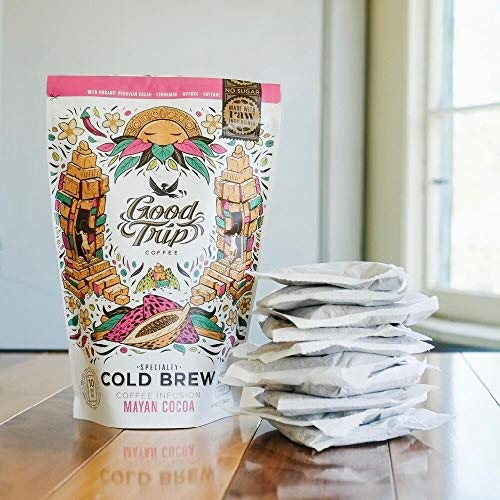 Good Trip: Mayan Cocoa Blend ~ As seen in Anthropologie | Smooth Organic Coffee Infused w/ Cacao and Cinnamon. | Vegan, Gluten-Free, Keto, Non-GMO. (Mess-Free, Easy to Use Cold Brew Bags), 10-pack