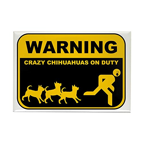 (CafePress WARNING Crazy Chihuahuas Rectangle Magnet, 2