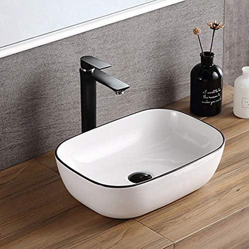 洗面ボール 北欧アートの上カウンター盆地バスルームの容器シンク用キャビネット洗面化粧台 洗面器 (Color : White, Size : 46x33x13.5cm)