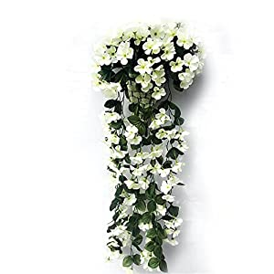 TRIEtree Hanging Flowers, Artificial Violet Flower Wall Wisteria Hanging Garland Vine Flowers Fake Silk Orchid Simulation Rattan Plant Vine for Wedding Home Wall Garden Balcony Floral Decoration 3