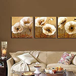 """HY- Stretched Canvas Art Floral Popies Set of 3 , 20"""" x 20"""""""