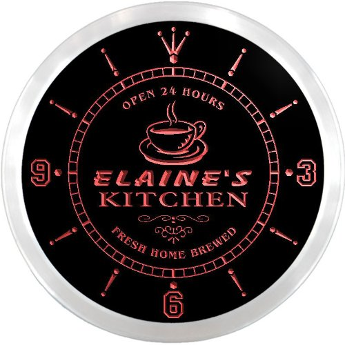 ncpc0126-r Elaine's Kitchen Open Bar Beer Neon Sign LED Wall (Elaine Wall Clock)