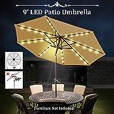 Cheap BenefitUSA 9′ SOLAR PATIO UMBRELLA 40 LED LIGHTS GARDEN OUTDOOR SUNSHADE (BEIGE)