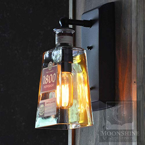 1800 Tequila Reposado - 1800 Reposado Recyceld Tequila Bottle Wall Sconce With Customizable Metal Finish and Vintage Style Edison Lightbulb