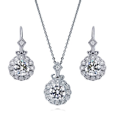 BERRICLE Rhodium Plated Sterling Silver Cubic Zirconia CZ Art Deco Milgrain Bridal Bridesmaid Necklace and Earrings Set