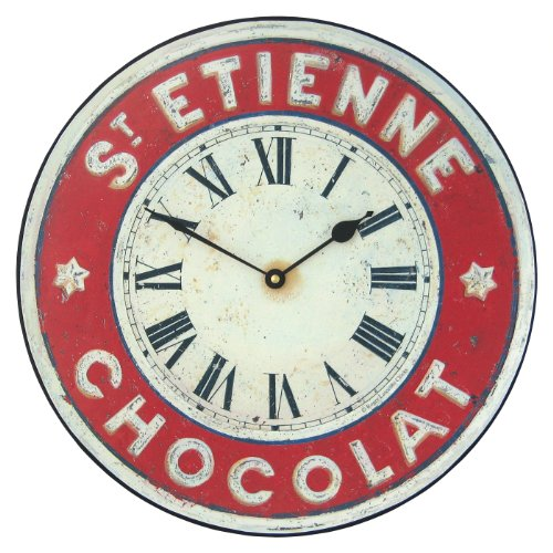 Roger Lascelles Chocolate French St. Etienne Kitchen Wall Clock, 14.2-Inch
