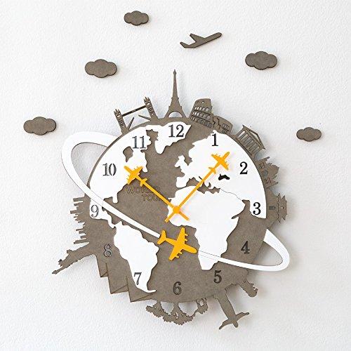 JQStar 壁掛け時計 木製 ハンドメイドの壁掛け時計ECO WORLD TOUR 世界一周旅をする  北欧 シンプル 見易い 連続秒針 消音 面白い 壁掛け時計 創意  ファッション おしゃれ トレンディ 静音 石英 癒やし レーザー 彫刻 インテリア 41cm×45cm (グレー) B076LM2SY5 グレー グレー