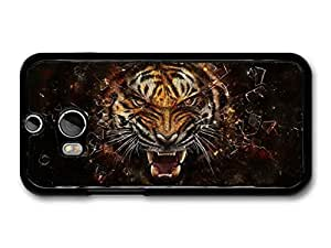 AMAF ? Accessories Angry Tiger Breaking Glass Illustration case for HTC One M8 by runtopwell