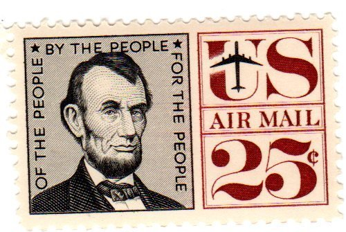 Postage Stamps United States. One Single 25 Cent Black & Maroon Abraham Lincoln Air Post Stamp Dated 1960, Scott #C59.