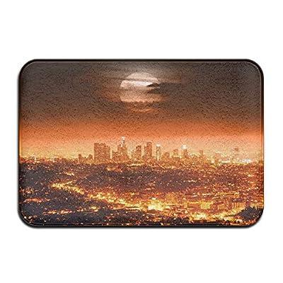 Wyuhmat1 Night Los Angeles 15.7 X 23.6 Inch (40x60cm) Print Rubber Backed Mat Non Slip Doormat Play/Bedroom/Sleeping/Baby Crawling Mat
