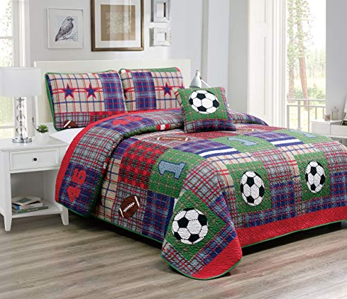 (Fancy Linen Bedspread Coverlet 4 PC Full Size Sport Navy Blue Light blue Red Green Taupe White Football Soccer Ball Reversible Kids/Teen/Boys New# Lets Play)