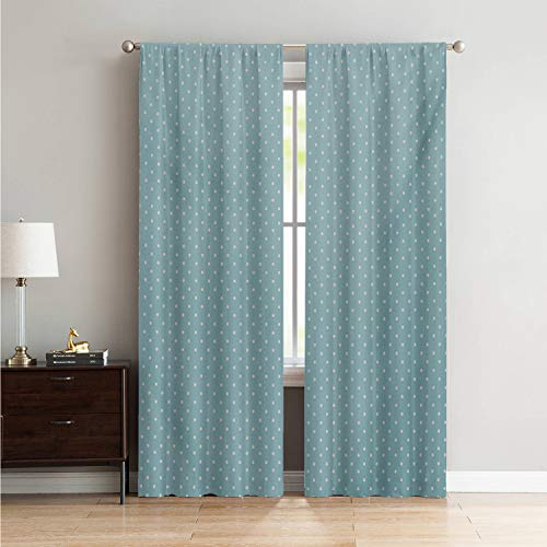 Mozenou Darkening Noise Reducing Curtains for Living Room Pale Blue,Classic Polka Dots Vintage Design Stylish Cottage Country Artwork Print,Pale Blue White W84 x L84 Inch