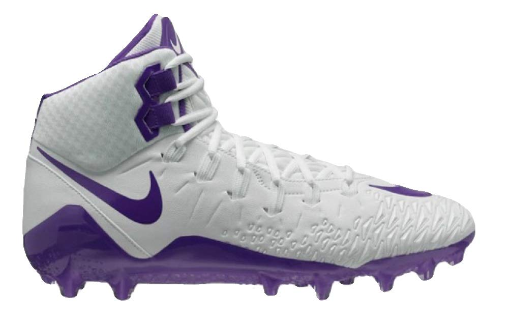 Nike Mens Force Savage Pro Football Cleat (7.5, White/Court Purple)