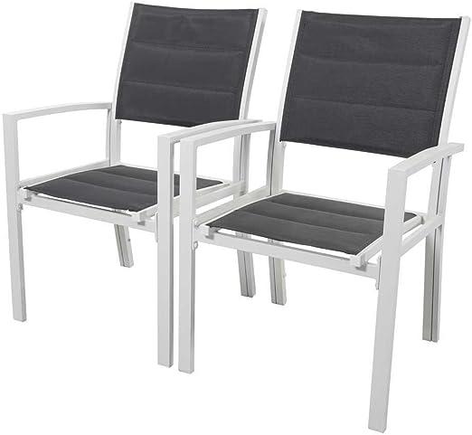 Juego de 2 sillas para jardín - Brazil/Canaries - Phoenix - Gris Claro: Amazon.es: Jardín