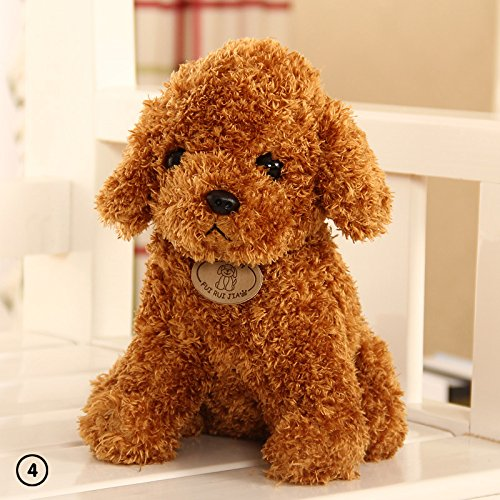 Red Poodle Plush (ZHUOTOP 18cm Cute Dog Plush Toys Stuffed Creative Dog Pillow Doll Soft Cushion Gift Light Brown)