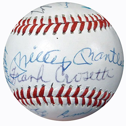 [1955 World Series Reunion Multi Signed Autographed Baseball With 23 Signatures Including Mickey Mantle & Duke Snider Yankees & Dodgers Beckett BAS #A02331] (Mickey Mantle Signature)