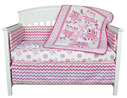Dancing Owls Chevron Pink and Purple 5 Piece Baby Girl Crib Bedding with Bumper by Belle