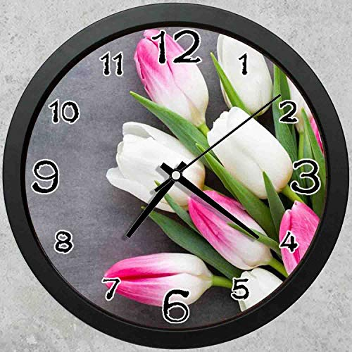 (47BuyZHJX 10-inch Round Decorative Wall Clock (Black),Backdrop Pattern - Beautiful Tulips,Pink White Petals,Home School Office Wall Clock.)