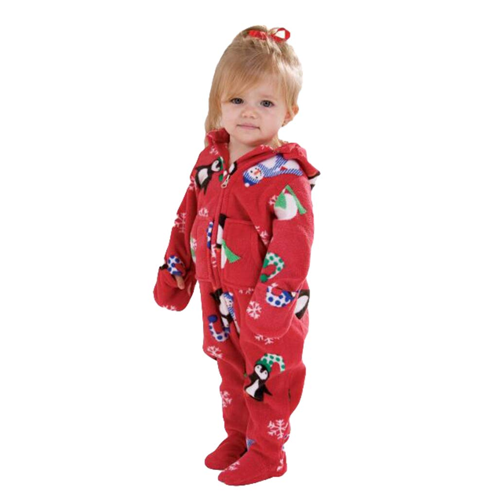 Christmas Pajamas Sets Family Matching Sleepwear, Cartoon Pattern Long Sleeve Romper Playsuit Xmas Nightwear Pyjamas Homewear Clothing for Father Mother Kid Baby