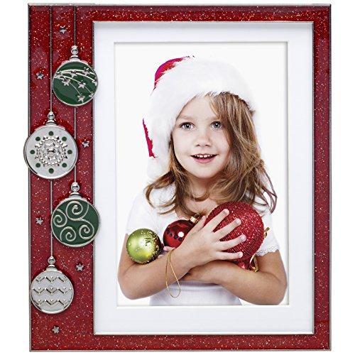 Red Ornament Pewter Picture Frame (Santa Frame)