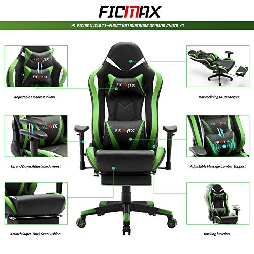 Ficmax Massage Gaming Chair Ergonomic Gamer Chair With