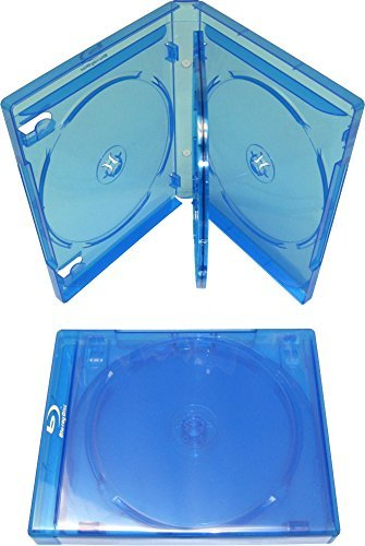 1 Empty 21mm Thick Quad Replacement Boxes/Cases for Blu-Ray DVD Movies - Holds 4 Discs - Blue (DV4R21BR)