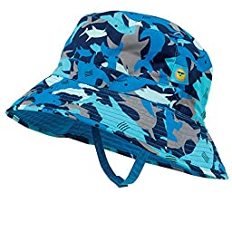Shark Baby Boy Sun Hat, Reverses to Royal Blue, by Sun Smarties - X-Small