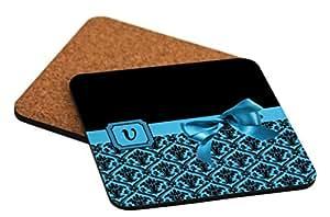 """Rikki Knight Letter """"V"""" Sky Blue Monogram Damask Bow Design Cork Backed Hard Square Beer Coasters, 4-Inch, Brown, 2-Pack"""