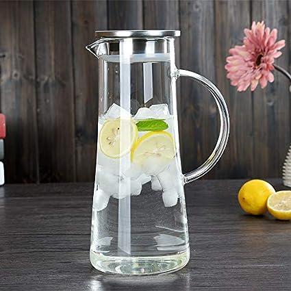 Cosy-YcY Glaskrug mit Deckel, Krug für Kühlschrank, Geschirrspüler sicher Krug Krug, 1.2L Glaskrug für Wasser / Saft / Milch / Wein / Tee, ect, Krug Wasserkocher für den Heimgebrauch Cosy YcY