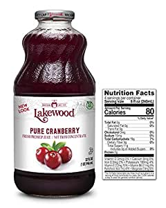 Lakewood PURE Cranberry Juice, 32-Ounce Bottles (Pack of 6)