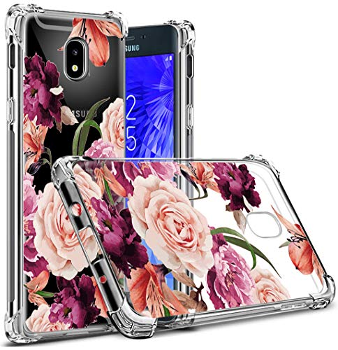 Osophter Compatible with Samsung Galaxy J7 2018 Flower Case,Samsung J7 Refine Floral Case Shock-Absorption Flexible TPU Rubber Soft Silicone Galaxy J7 Star (Clear Flower)