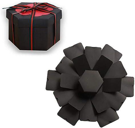 Benrise - Caja de regalo hexagonal hecha a mano con diseño de explosión, color negro, para manualidades,