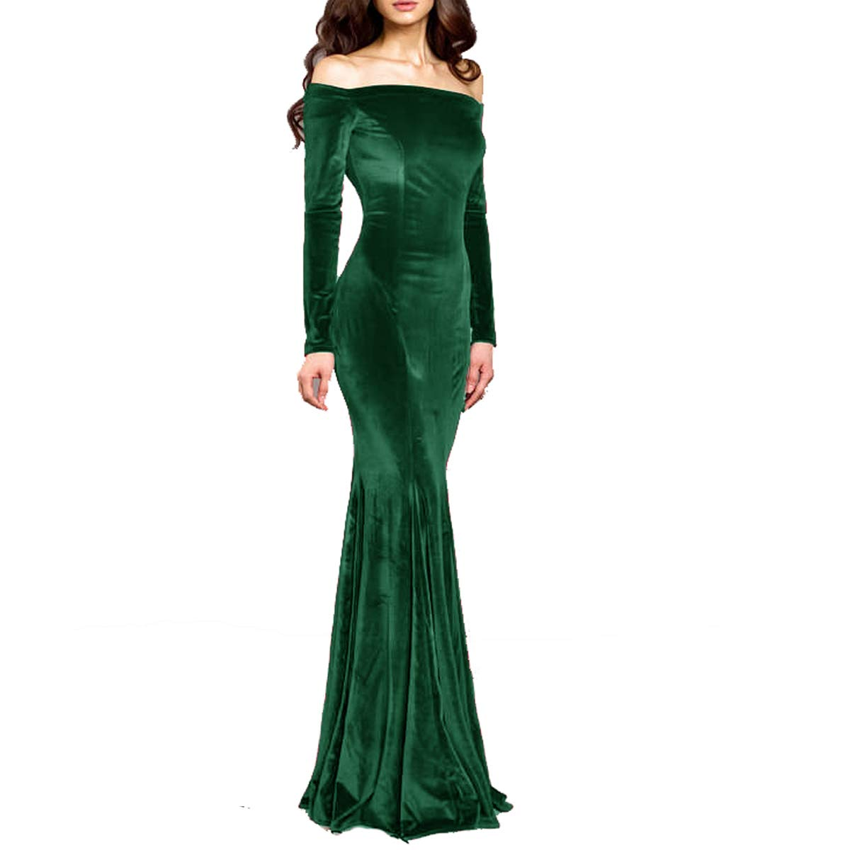 Dark Green TTYbridal Off The Shoulder Velvet Evening Gown Long Prom Party Dresses with Two Sleeves