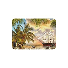 ADEDIY Fashion Custom Pet Mat Pirate Ship Palm Tree Wooden Wharf Pet Bed 30x21 Inch for Dog Cat