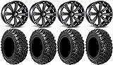 Bundle - 9 Items: MSA Black Kore 14' ATV Wheels 28' Kanati Mongrel Tires [4x156 Bolt Pattern 12mmx1.5 Lug Kit]
