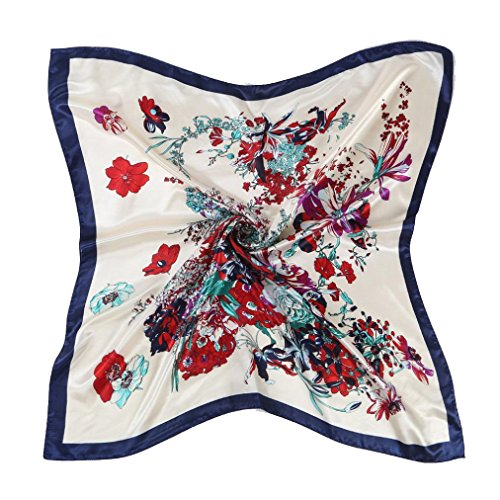 Oksale Women Floral Printed Square Scarf Kerchief Scarve Head Wrap Shawl (Blue)
