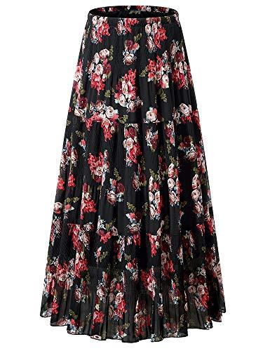 NASHALYLY Women's Chiffon Elastic High Waist Pleated A-Line Flared Maxi Skirts (L, Flower-206) ...