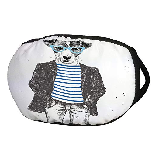 Fashion Cotton Antidust Face Mouth Mask,Quirky Decor,Dressed Up Hipster Dog with Glasses Hand Drawn Sketchy Fashion Animal,Black White Blue,for women & men